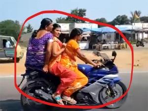 तीन महिलाओं ने एक साथ साड़ी में किया यामाहा आर 15 की सवारी, वीडियो हुआ वायरल