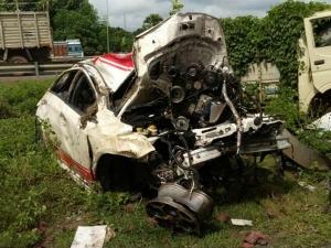 भयंकर दुर्घटना में भूर्ता बनी फिएट पुंटो अबार्थ, चमत्कारिक ढ़ंग से बची चालक की जान