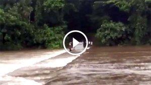 लोगों की जान बचाने के लिए बहते नदी पर चलाई महिंद्रा बोलेरो - देखें ये हैरतअंगेज विडियो