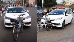शॉकिंग वीडियो: जब साइकिल से हुई टक्कर और कार के उड़े परखच्चे