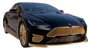 Tesla Model S 24K Gold Plated: 24 कैरेट सोने वाली टेस्ला कार छाई है इंटरनेट पर, देखें तस्वीरें
