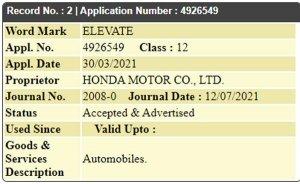 होंडा ने नए 'एलिवेट' नाम को भारत में कराया ट्रेडमार्क, हो सकती है नई 7-सीटर एसयूवी
